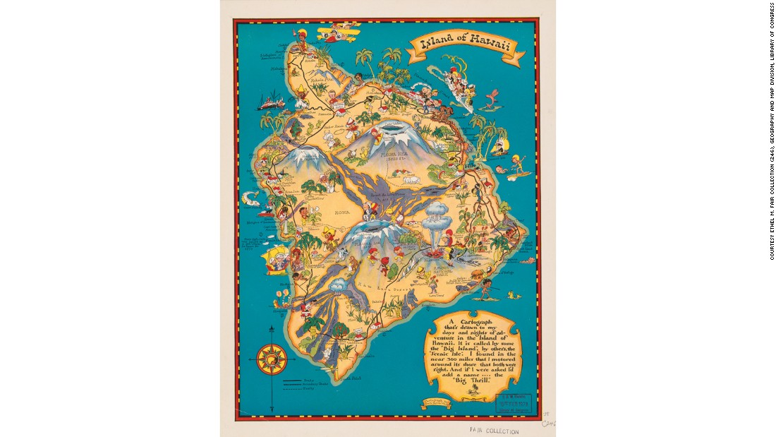 This map produced Hawaiian tourist board takes a light-hearted, Disney-esque look at the wonders of the island, conjuring up mountains, palm trees and cherub-faced hula girls for a mainland audience only just starting to discover the wonders of mass travel.