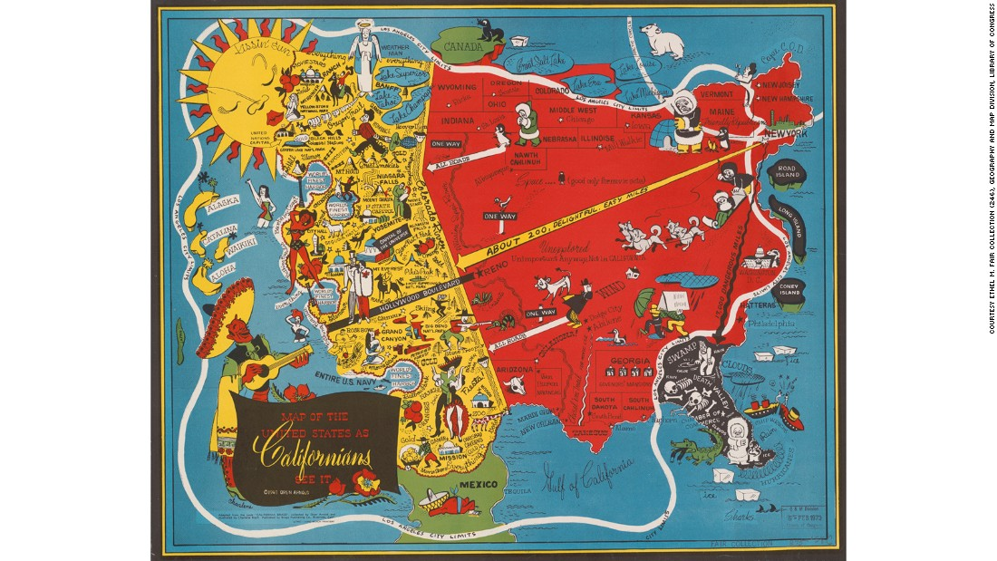 Californians have a reputation for thinking they have it made. This satirical map from 1947 -- with the Californian vision of the rest America depicted as a barren plains of Eskimo families and cattle -- shows us that this stereotype has been going on for longer than you might think.