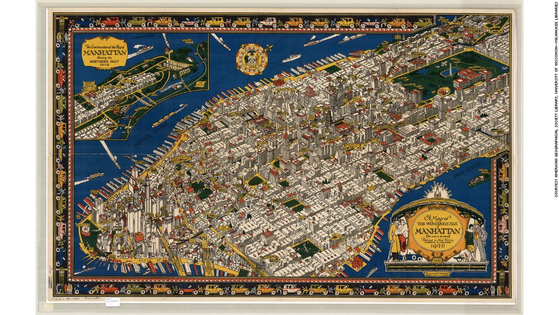 This ambitious map from 1926 looks at the growing American metropolis of Manhattan from a topographical birds-eye view angle -- yet still manages to capture the impressive designs of the enormous new skyscrapers starting to appear on the island.