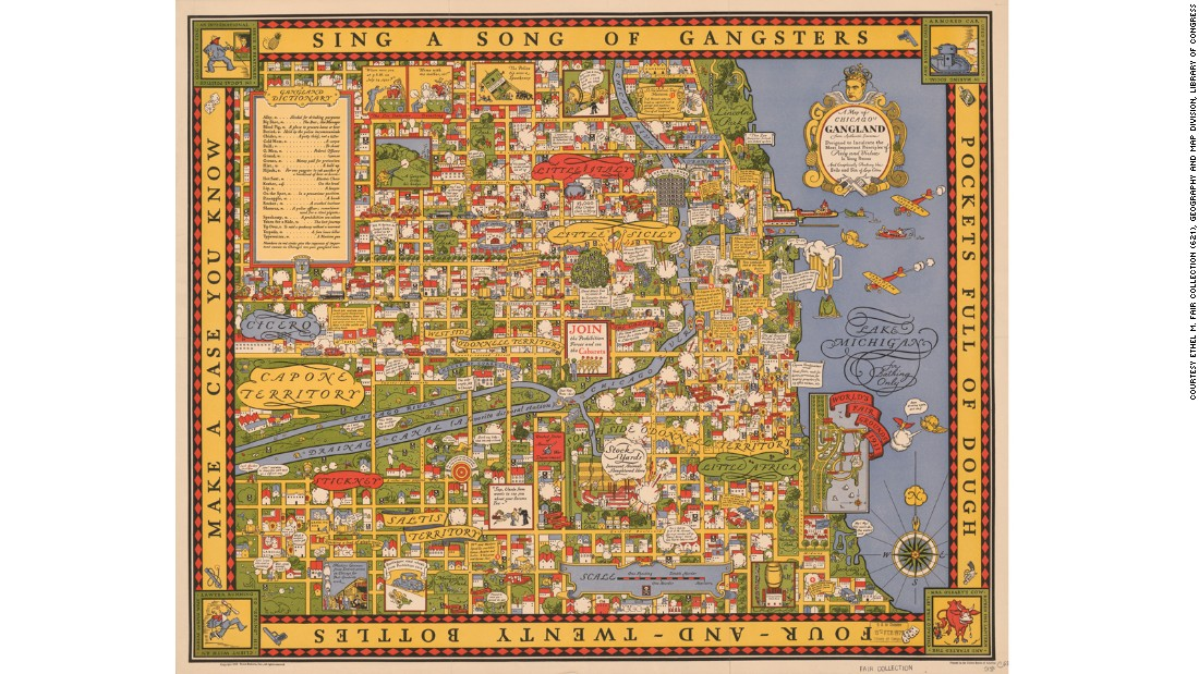 "This map of Chicago gangland of the 1930s promises to ""graphically portray the evils and sin of large cities,"" but the result is more likely to entice people with it's nods to Al Capone, ""Big Jim"" Colosimo and the St. Valentine's Day Massacre."