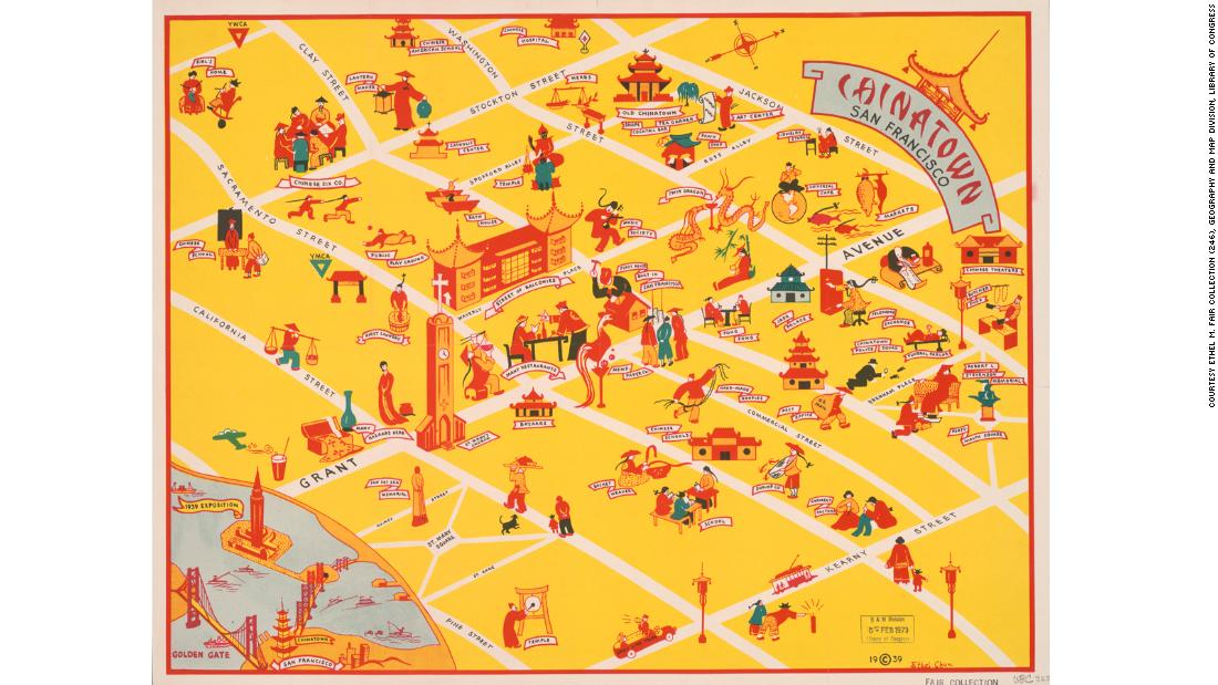 Every Chinatown is regarded as a place of mystery and intrigue, but San Francisco's is probably the most elusive of all. This map by artist Ethel Chun uses a traditional Chinese color scheme to try and explain the chaos of Chinatown to the average American tourist.