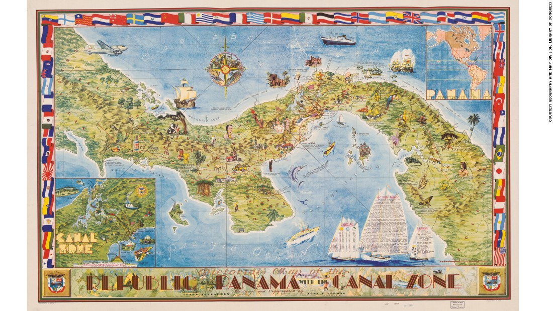 This map by architect Clark Teegarden was designed as a souvenir for American servicemen stationed in Panama. With its Art Deco lettering and attention to detail, it is regarded as one of the most attractive pictorial maps of the period.