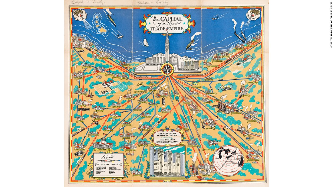 In the early 1930s the city of Cleveland was trying to position itself as a major hub of American industry; a place of skyscrapers, high-speed trains and heavy engineering to rival its Midwestern competitors. The powers that be commissioned this pictorial map to show the city's potential to an increasingly industrialized America.