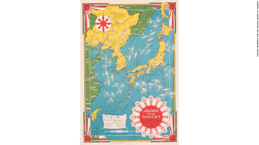 During World War II, the pictorial map took on a more sinister role, providing propaganda for a public who didn't yet have access to fast news or 24-hour television.<br /><br />This map by artist Ernest Dudley Chase uses traditional Japanese art motifs to show the routes of American bombers in the Far East. The racist language in its title reflects the prejudices of the time.
