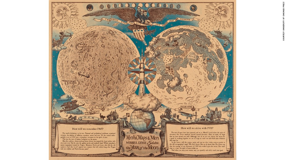 This pictorial map might look like it comes from the time of Magellan and Columbus, but it was actually commissioned by New York bank Merrill Lynch in the 1960s. It features icons of the time, such as the Apollo spacecraft and presidents Kennedy, Johnson and Nixon flying on the top of a bald eagle, in a surreal, satirical take on the form.