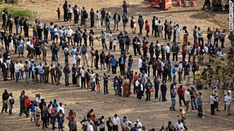 Kenyans were still lining up at dusk at a polling station in downtown Nairobi.