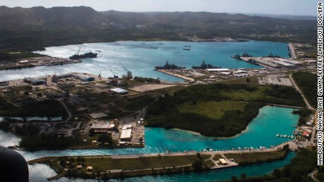 epa06133223 (FILE) - A handout file photo made available by the US Department of Defense (DoD) on 09 August 2017 shows an aerial view from above US Naval Base Guam (NBG) showing Apra Harbor with several navy vessels in port, in Guam, 05 March 2016. According to North Korean state media on 09 August 2017, the North is considering a potential preemptive strike with medium-to-long-range strategic ballistic missiles on the US Pacific territory of Guam, where US tactical bombers are based. The threat follows US President Donald J. Trump's warning to Pyongyang that any threat to the USA 'will be met with fire and fury like the world has never seen.' The exchanges marked rising tensions between the two countries.  EPA/US NAVAL BASE GUAM/JEFFREY LANDIS HANDOUT  HANDOUT EDITORIAL USE ONLY/NO SALES