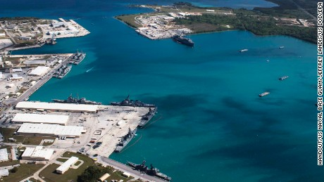 epa06133221 (FILE) - A handout file photo made available by the US Department of Defense (DoD) on 09 August 2017 shows an aerial view from above US Naval Base Guam (NBG) showing Apra Harbor with several navy vessels in port, in Guam, 05 March 2016. According to North Korean state media on 09 August 2017, the North is considering a potential preemptive strike with medium-to-long-range strategic ballistic missiles on the US Pacific territory of Guam, where US tactical bombers are based. The threat follows US President Donald J. Trump's warning to Pyongyang that any threat to the USA 'will be met with fire and fury like the world has never seen.' The exchanges marked rising tensions between the two countries.  EPA/US NAVAL BASE GUAM/JEFFREY LANDIS HANDOUT  HANDOUT EDITORIAL USE ONLY/NO SALES