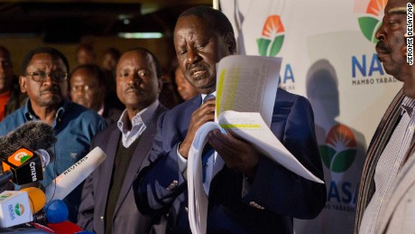 Odinga said Wednesday that hackers had infiltrated the database of the country's election commission and manipulated the results.