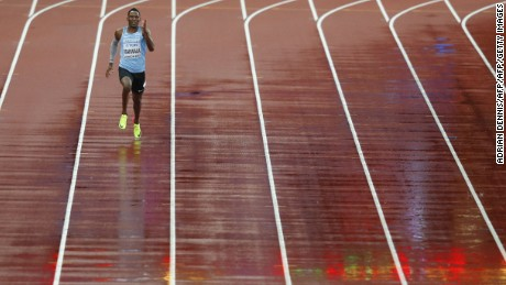 Makwala runs alone from lane seven in his 200m time trial on Wednesday.