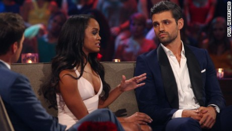 "THE BACHELORETTE - ""Episode 1310"" - Season Finale - It didn't take long for Rachel Lindsay to rebound from her surprising, gut-wrenching rejection by Nick Viall and capture the hearts of America, as well as this season's 31 eligible bachelors. Now after surviving shocking twists and turns and a journey filled with laughter, tears, love and controversy, Rachel has narrowed down the field to Bryan, Eric and Peter. She finds herself falling in love with all three of these captivating men and terribly torn between them. She can envision a future with all of these bachelors, but time is running out. In a live, three-hour special, Chris Harrison takes Rachel and Bachelor Nation back to those final days in Rioja, Spain, to discuss the difficult choices she made along the way.  Her three suitors will join them throughout the live special, on ""The Bachelorette: The Three Hour Live Finale,"" airing MONDAY, AUGUST 7 (8:00-11:00 p.m. EDT), on The ABC Television Network. (ABC/Paul Hebert) CHRIS HARRISON, RACHEL LINDSAY, PETER KRAUS"