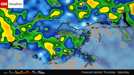 CNN Weather estimates New Orleans will receive 2 inches of rain over the weekend starting Thursday,  August 10.