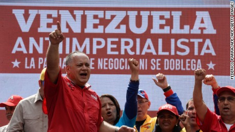 Venezuelan lawmaker Diosdado Cabello takes part in a rally against the secretary general of the Organization of American States (OAS), Luis Almagro, in Caracas on March 28, 2017. / AFP PHOTO / FEDERICO PARRA        (Photo credit should read FEDERICO PARRA/AFP/Getty Images)