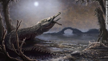 A team of international scientists discovered a prehistoric crocodile and named it after Motorhead frontman Lemmy Kilmister. Mark Witton, under the direction of the Trustees of the Natural History Museum, London created this illustration of the prehistoric predator.
