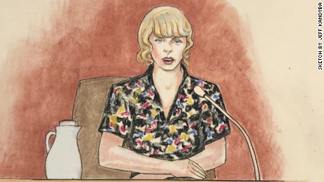 A courtroom sketch of Taylor Swift on the stand on Thursday August 10