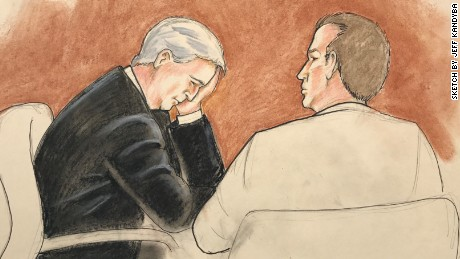 A courtroom sketch shows David Mueller with is attorney in court on Thursday, August 10.