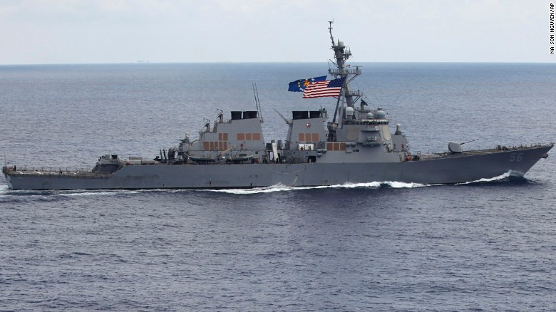 In this photo taken Saturday, Aug. 13, 2011, the USS John S. McCain sails off the coast of Vietnam.