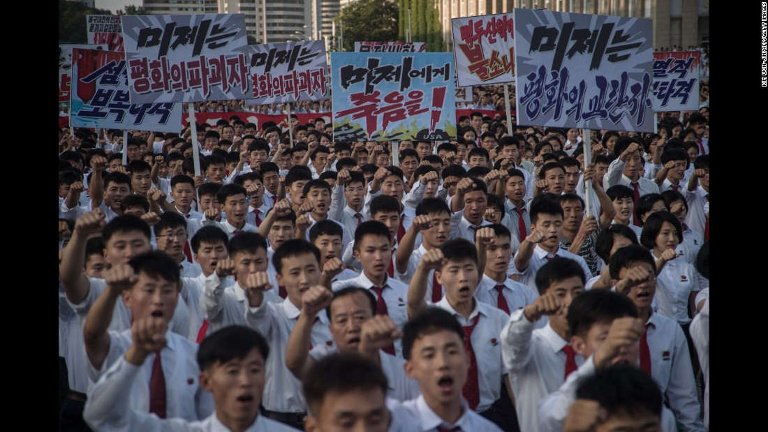 "People in Pyongyang, North Korea, attend a rally Wednesday, August 9, in the capital's Kim Il Sung Square. The rally <a href=""http://www.cnn.com/2017/08/10/asia/gallery/north-korea-parade-donald-trump/index.html"" target=""_blank"">showed support for the North Korean government </a>and its bellicose stance against the United States."