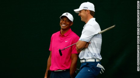 SCOTTSDALE, AZ - JANUARY 29: Tiger Woods and Jordan Spieth talk together on the 17th hole during the first round of the Waste Management Phoenix Open at TPC Scottsdale on January 29, 2015 in Scottsdale, Arizona.  (Photo by Sam Greenwood/Getty Images)