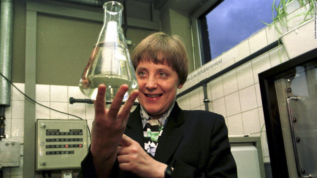 Merkel changed Cabinet positions in 1994, becoming Minister of the Environment, Nature Conservation and Nuclear Safety. Here, she visits a water-control station in Bad Honnef, Germany, in 1995.