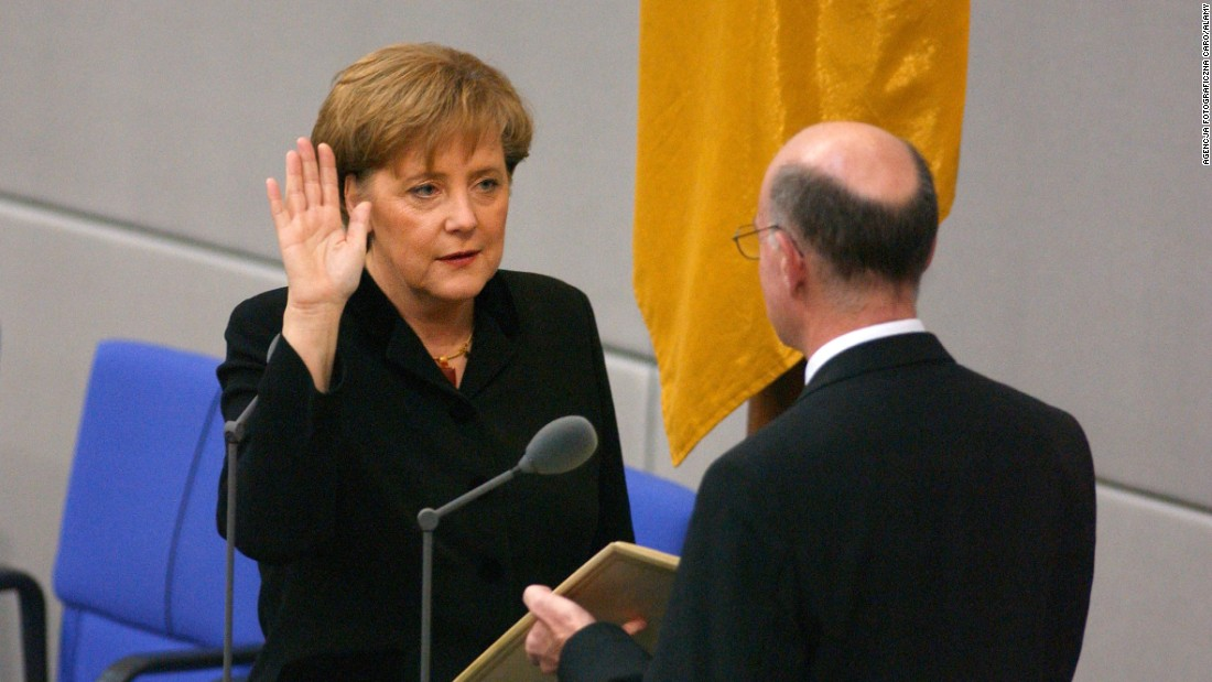Merkel is sworn in as Germany's first female chancellor in November 2005.