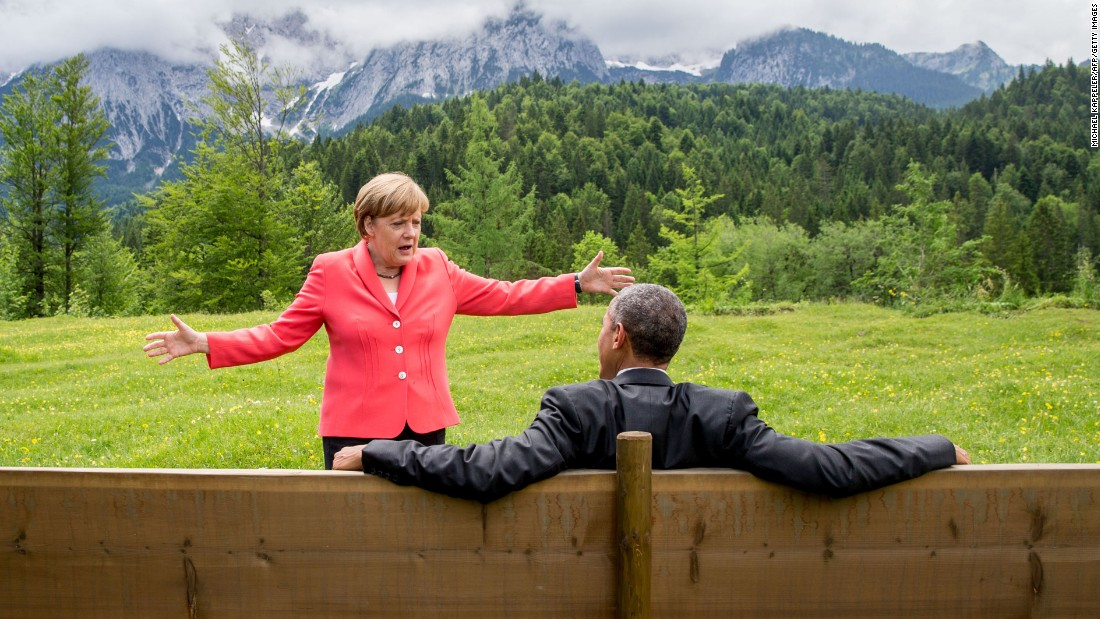 Merkel speaks to Obama on the sidelines of a G7 summit near Garmisch-Partenkirchen, Germany, in June 2015.