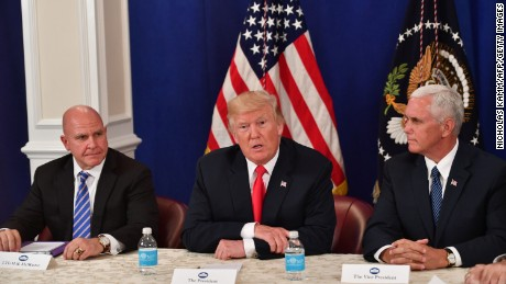 US President Donald Trump, with National Security Advisor H. R. McMaster (L) and Vice President Mike Pence, speaks during a security briefing on August 10, 2017, at his Bedminster National Golf Club in New Jersey.  / AFP PHOTO / Nicholas Kamm        (Photo credit should read NICHOLAS KAMM/AFP/Getty Images)