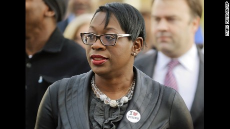 Nina Turner is seen in this October 2014 photo. (AP Photo/Mark Duncan, File)