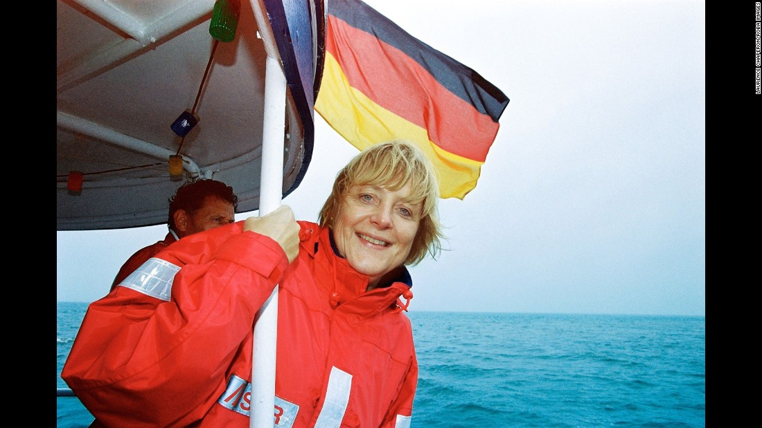 Merkel spends part of her summer in Langballig, Germany, in 2002.