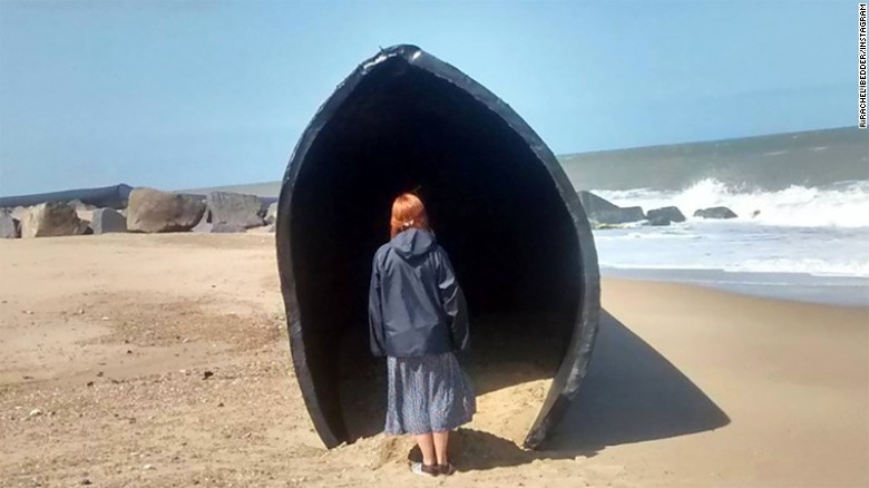 Giant pipes wash ashore on UK beach