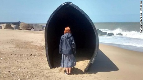 Rachel Bedder went to the beach at Winterton-on-Sea, Norfolk, on Thursday and saw one of the giant pipes that washed up on the beach.