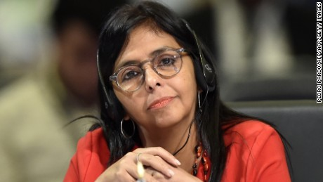 Venezuelan Foreign Minister Delcy Rodriguez attends the 47th General Assembly of the Organization of American States (OAS) in Cancun, Mexico, on June 20, 2017. Ministers from the OAS failed Monday to agree on a resolution to address the crisis in Venezuela, as the death toll from weeks of clashes at anti-government protests rose to 74. / AFP PHOTO / Pedro PARDO        (Photo credit should read PEDRO PARDO/AFP/Getty Images)