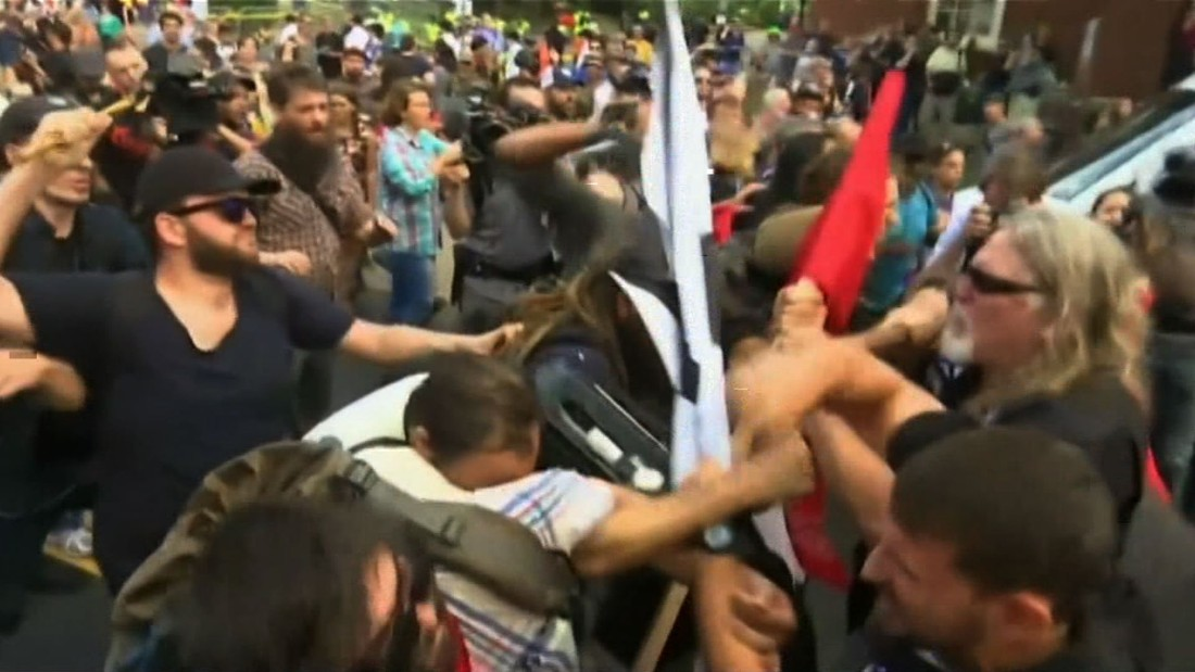 image of Violent clash at white nationalist rally