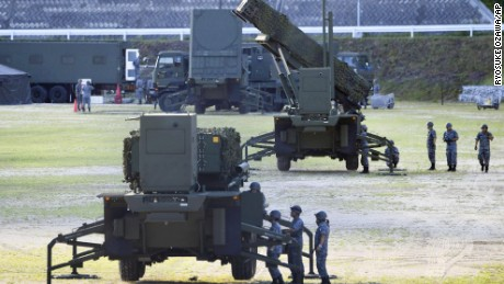 A PAC-3 interceptor unit is deployed at the Japanese Self-Defense Force base in Kochi prefecture on  Saturday, August 12.