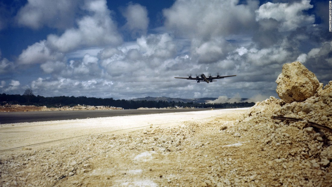 A Boeing B-29 Superfortress takes off from Harmon Field, Guam, April 13, 1945.