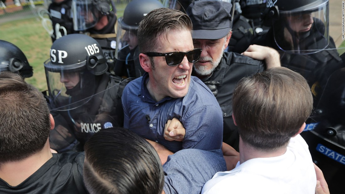 White nationalist Richard Spencer and his supporters clash with Virginia State Police in Emancipation Park.