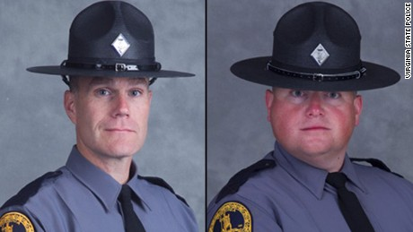 We have these photos avail for RON use. Lt. Cullen is pictured on the left. Trooper-Pilot Bates is on the right.  The two officers died in a Virginia State Police helicopter crash this afternoon in Albermarle County, Virginia.