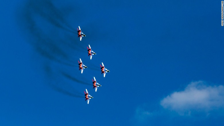 Jet fighters fly in formation over Moscow on Saturday.