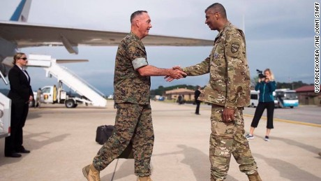Gen. Joseph Dunford, Chairman of the Joint Chiefs of Staff arrives at Osan Air Base, Monday, August 13.