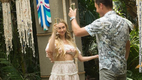 Corinne Olympios and host Chris Harrison in 'Bachelor in Paradise'