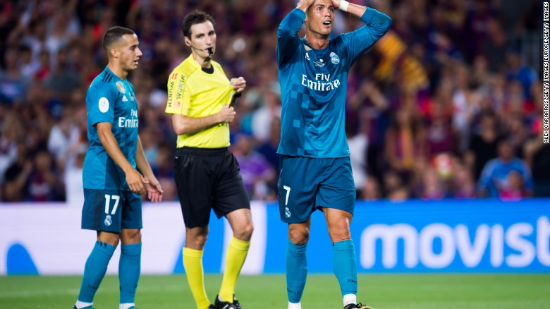 Ronaldo was red carded during a Spanish Super Cup clash between Real Madrid and Barcelona