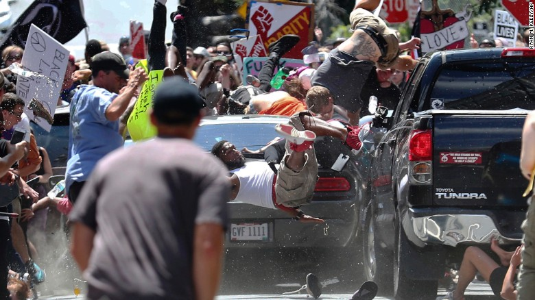 A vehicle drove into counterprotestors in Charlottesville, Virginia on Saturday killing one person and injuring 19 others.