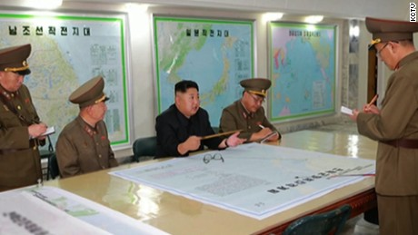 Kim speaks with Strategic Force Commande officers on August 14th in this image distributed by North Korean state media.