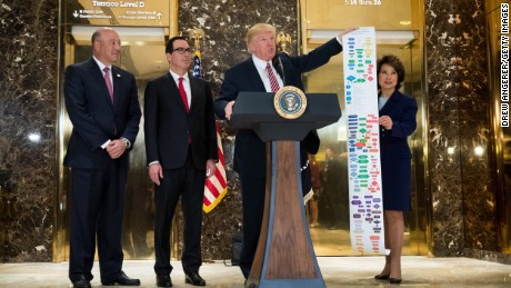Flanked by (L to R) Director of the National Economic Council Gary Cohn, Treasury Secretary Steve Mnuchin and Transportation Secretary Elaine Chao, President Donald Trump holds up a Federal decision permitting-process flowchart for federally funded highway projects in the United States' while speaking following a meeting on infrastructure at Trump Tower, August 15, 2017 in New York City.  He fielded questions from reporters about his comments on the events in Charlottesville, Virginia and white supremacists.