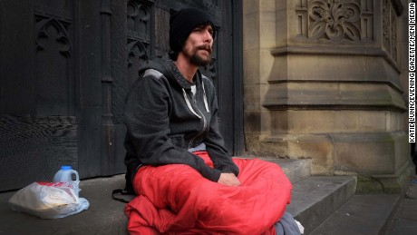 Chris Parker the homeless man who helped victims of the Manchester Arena terrorist attack last week. Despite efforts by the public he is still homeless. 