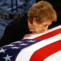 Nancy Reagan kissing Ronalds casket June 2004