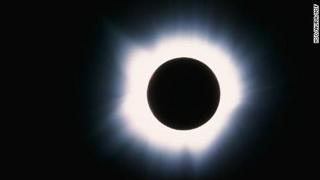 The delicately structured glow of the solar corona, or solar atmosphere, is seen during the March 7th 1970 total eclipse of the Sun. The corona is visible to the naked eye only during an eclipse.