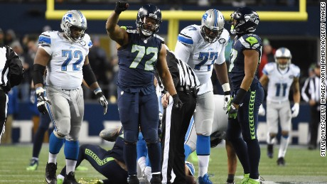SEATTLE, WA - JANUARY 07:  Michael Bennett #72 of the Seattle Seahawks reacts after a sack during the second half against the Detroit Lions in the NFC Wild Card game at CenturyLink Field on January 7, 2017 in Seattle, Washington.  (Photo by Steve Dykes/Getty Images)