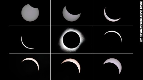 This photo combo shows the moon passing in front of the sun (top L to bottom R) during a total solar eclipse in Indonesia on March 9, 2016.
