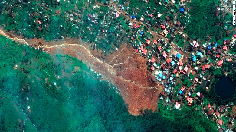 A satellite image from DigitalGlobe shows the mudslide that has devastated the Freetown area.